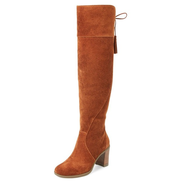 Tan Boots Suede Chunky Heel Knee High Boots image 1