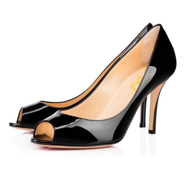 On Sale Black Peep Toe Heels Stiletto Heel Pumps Dress Shoes image 1