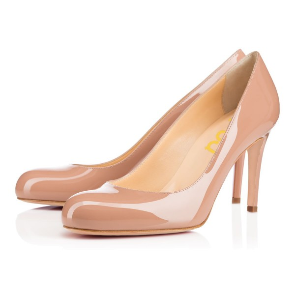 Office Heels Round Toe Patent Leather Stiletto Heel Nude Pumps image 1