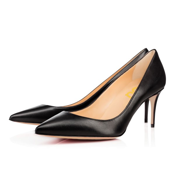 Women's  Black Low-cut Stiletto Heels Uppers Pointy Toe Commuting Pumps  image 1