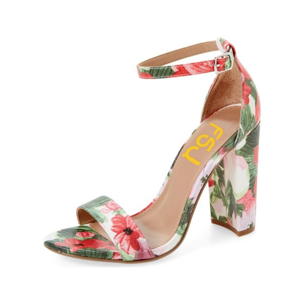 Women's Flower Open Toe Chunky Heel Floral Heels Ankle Strap Sandals image 1
