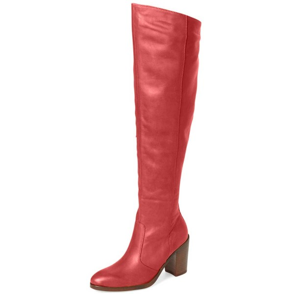 Red Knee Boots Round Toe Fashion Chunky Heel Boots by FSJ image 1