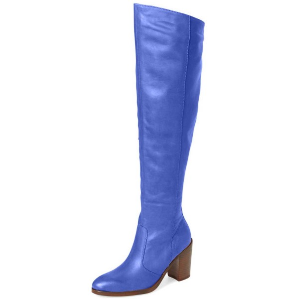 Blue Knee Boots Round Toe Fashion Chunky Heel Boots by FSJ image 1