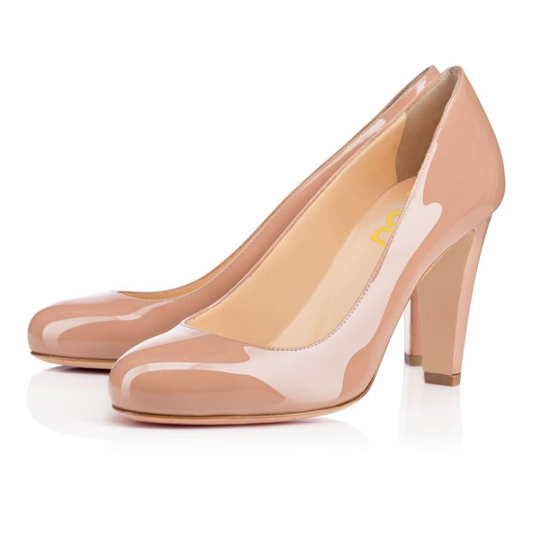 On Sale Blush Heels Round Toe Patent Leather Office Pumps image 1