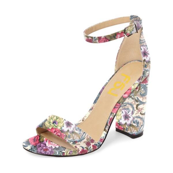Floral Heels Ankle Strap Open Toe Women's Block Heel Sandals image 1