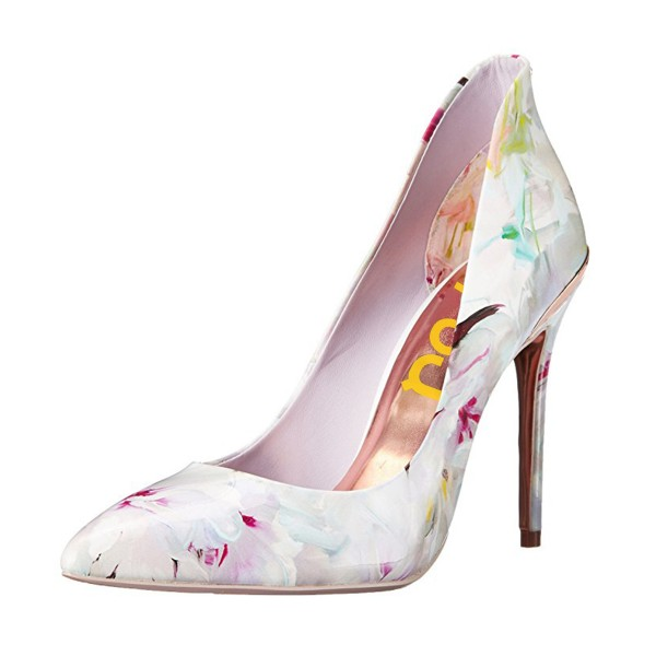 Women's White Spring Floral Printed Pencil Heel Pumps Dress Shoes image 1