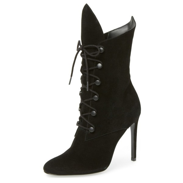 Black Lace up Boots Stiletto Heel Suede Shoes for Halloween image 1