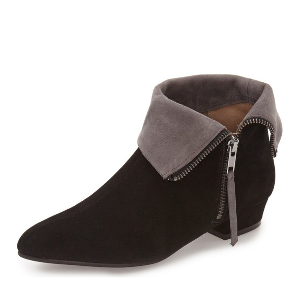 Black and Taupe Short Boots Low Heel Suede Fold-Over Boots image 1