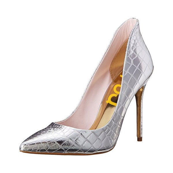 Silver Vegan Shoes Pointy Toe Stiletto Heel Pumps US Size 3-15 image 1