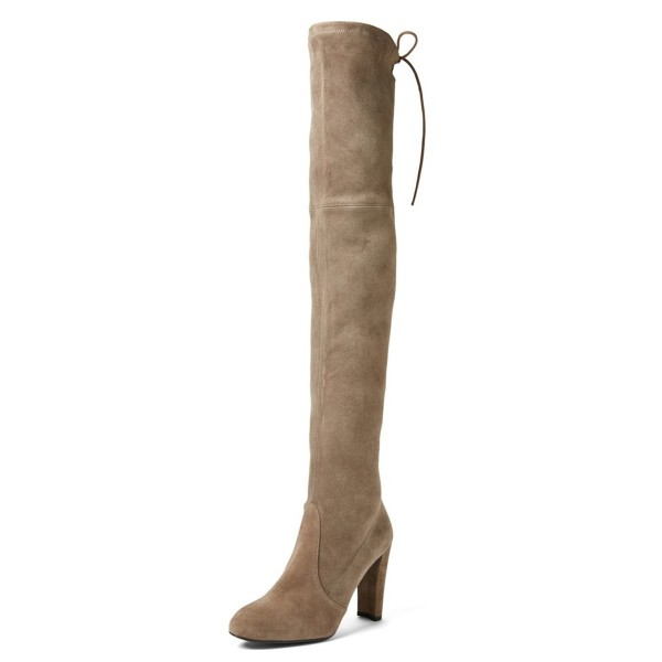 Khaki Chunky Heel Boots Round Toe Suede over-the-knee Boots image 1