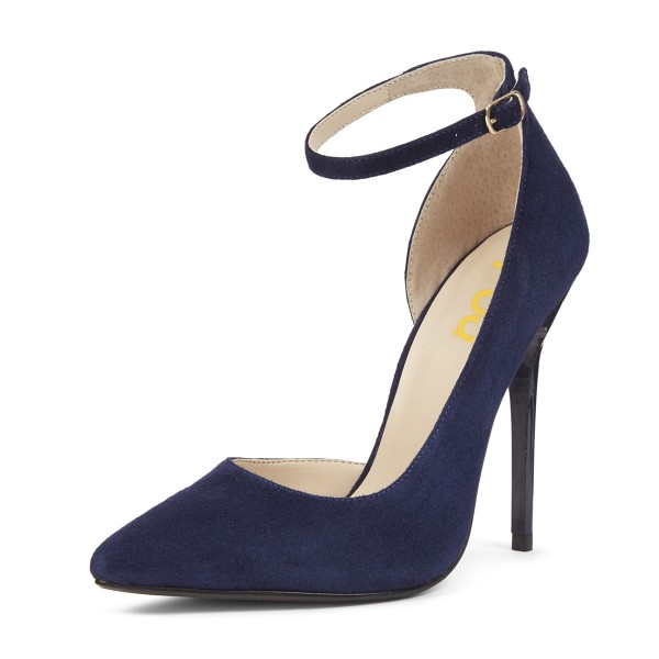 Navy Ankle Strap Heels Pointy Toe Suede Stiletto Heels Pumps for ...