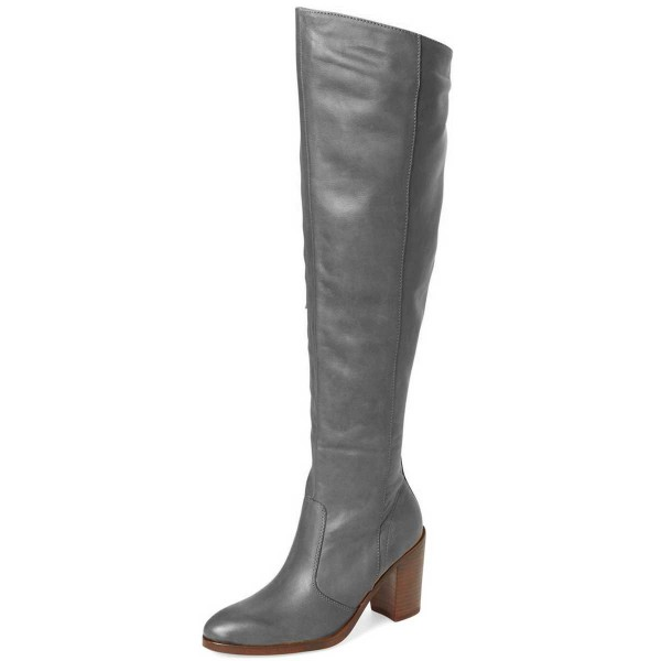 Grey Knee Boots Round Toe Chunky Heel Boots by FSJ image 1