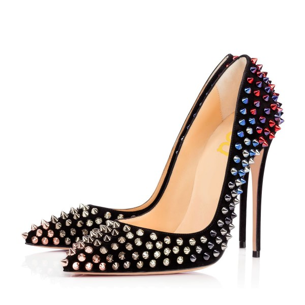 Black Stiletto Heels Pointy Toe Studded Pumps with Colorful Rivets image 1