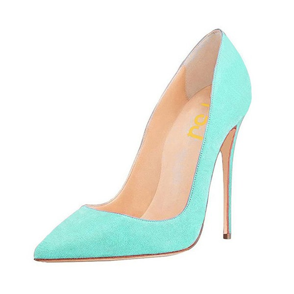 Turquoise Heels Pointy Toe Stiletto Heel Suede Pumps image 1