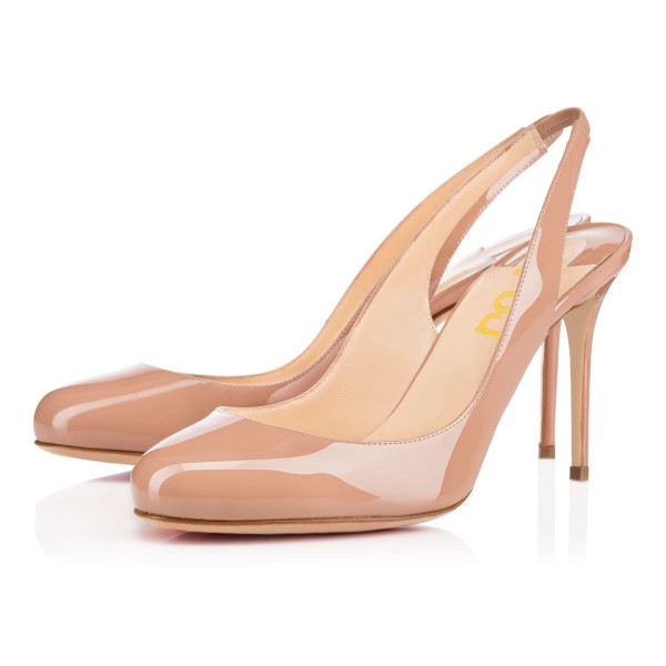 Women's Blush Stiletto Heels Round Toe Slingback Pumps For Work image 1
