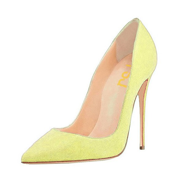 On Sale Yellow Pointy Toe Suede Stiletto Heels Pumps image 1