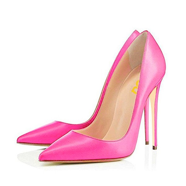 On Sale Fuchsia Office Heels Pointy Toe Stiletto Heel Dressy Pumps image 1