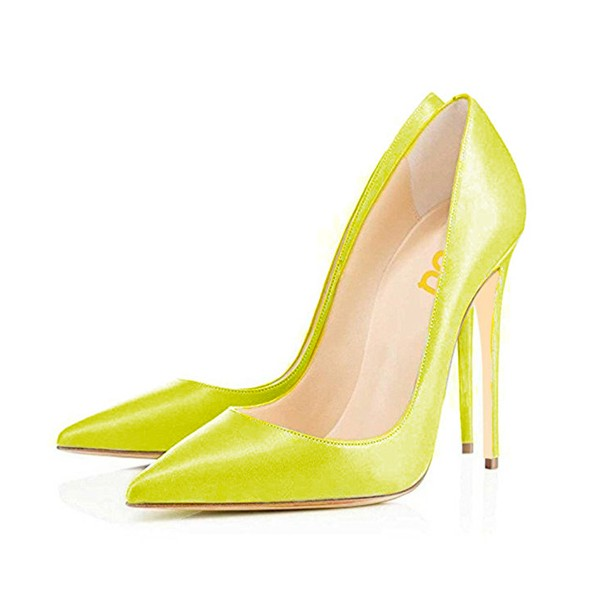 FSJ Yellow Office Heels Pointy Toe Stiletto Heel Office Pumps  image 1