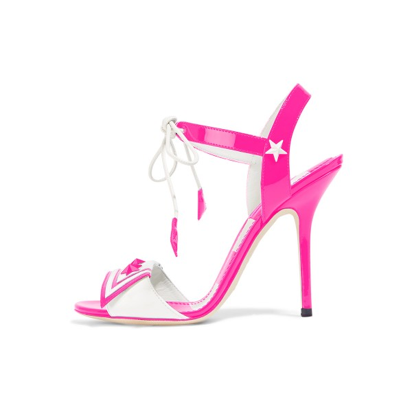 Pink Lace up Sandals Patent Leather Open Toe Stiletto Heels  image 1