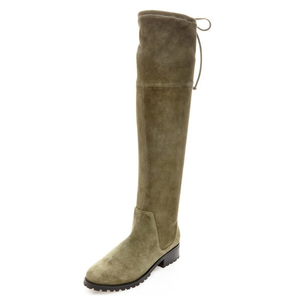 Vintage Green Long Boots Round Toe Flat Over-the-Knee Boots image 1