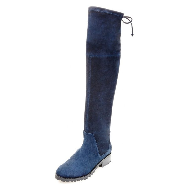 Navy Long Boots Round Toe Flat Suede Over-the-Knee Boots image 1
