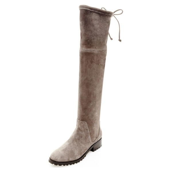 Taupe Boots Round Toe Low Heel Back Laced Suede Knee High Boots image 1