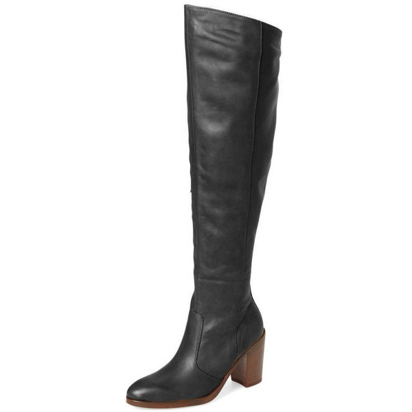 FSJ Black Tall Boots Round Toe Block Heel Knee Boots image 1