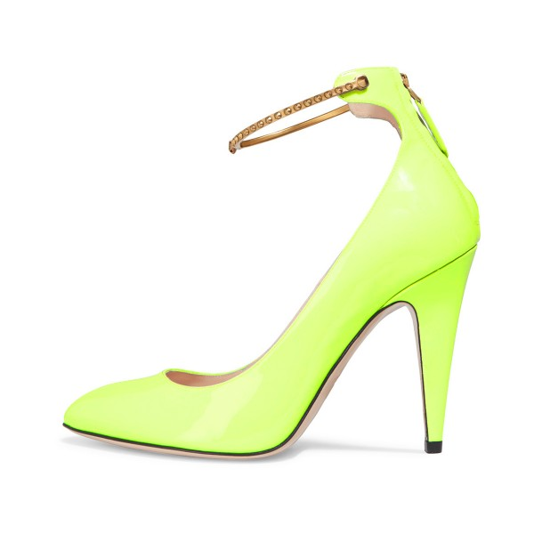 Women's Light Yellow Patent Leather Ankle Strap Heels Pumps Shoes image 1
