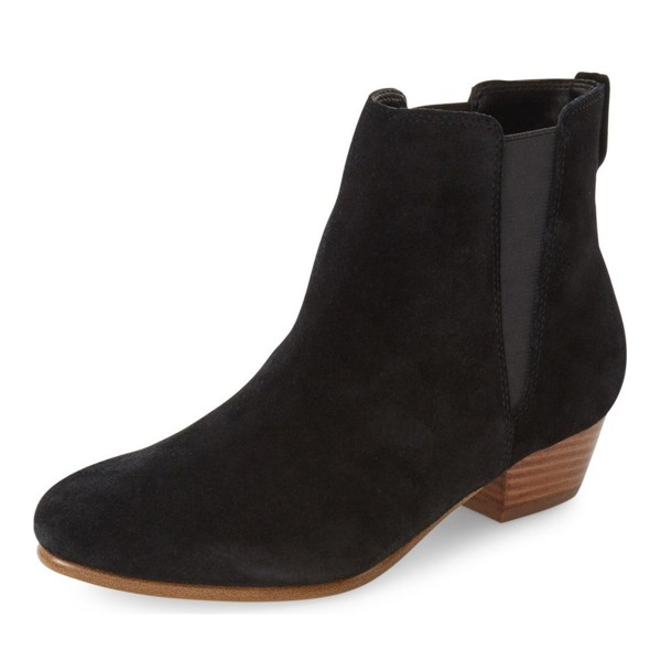 Black Vintage Boots Chelsea Boots Suede Round Toe Chunky Heel Comfortable Ankle Boots image 1