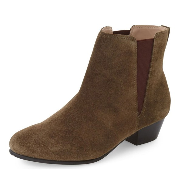 Women's Dark Brown Chelsea Boots Suede Ankle Chunky Heel Boots image 1