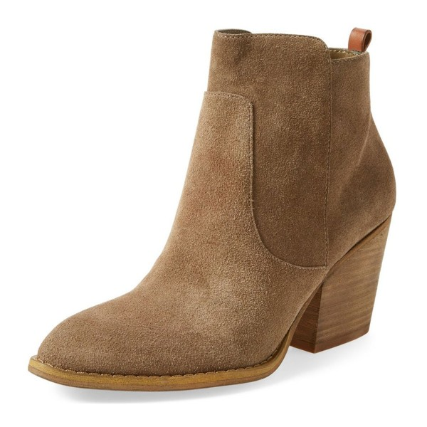 Women's Khaki Suede Low Chunky Heel Boots Round Toe Heels image 1