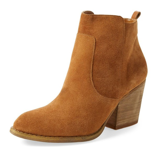 Tan Vintage Boots Suede Chunky Heel Ankle Booties for Female image 1