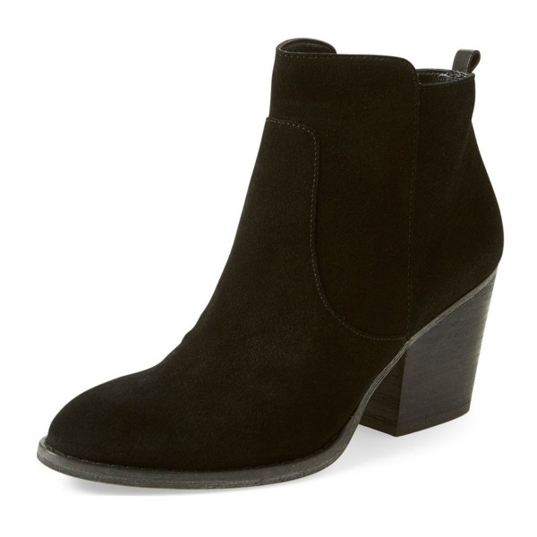 Suede Chunky Heel Boots Black Round Toe Comfortable Ankle Boots image 1