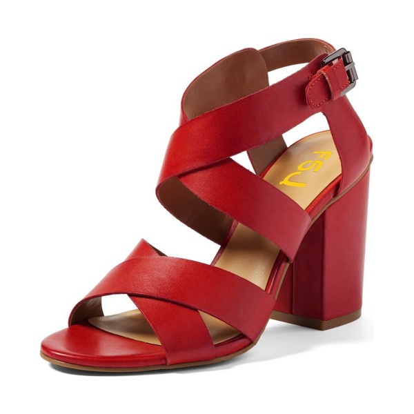 Red Buckle Chunky Heels Sandals Open Toe Cross over Slingback Sandals image 1