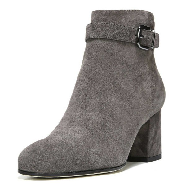 Women's Grey Side Suede Buckle Ankle Chunky Heel Boots image 1