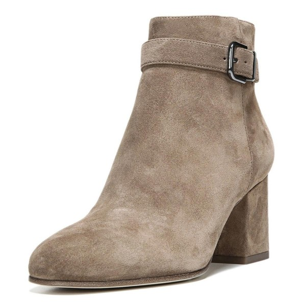 Brown Vintage Boots Chunky Heel Round Toe Suede Ankle Boots image 1