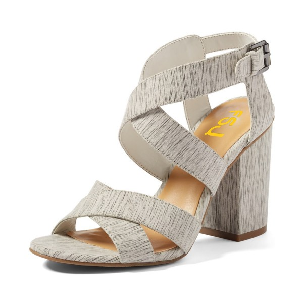 Women's Grey Wood Grain Open Toe Buckle Chunky Heel Sandals image 1