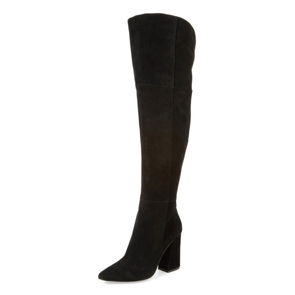 Black Long Boots Chunky Heel Pointy Toe Over-the-knee Boots image 1