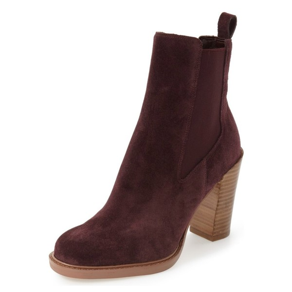 Maroon Chelsea Boots Chunky Heel Round Toe Suede Women's Ankle Boots  image 1