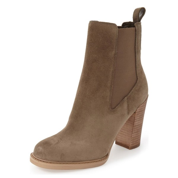 Women's Brown Suede Chelsea Boots Commuting Wooden Chunky Heels Boots image 1