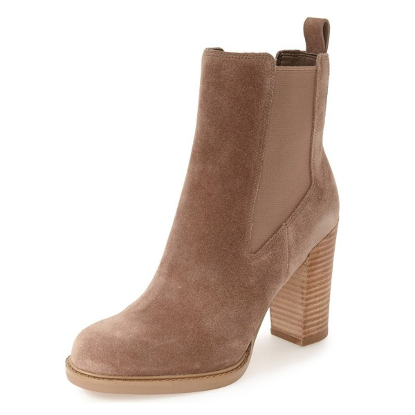 Women's Brown Chelsea Boots Commuting Suede Wooden Chunky Heel Boots image 1