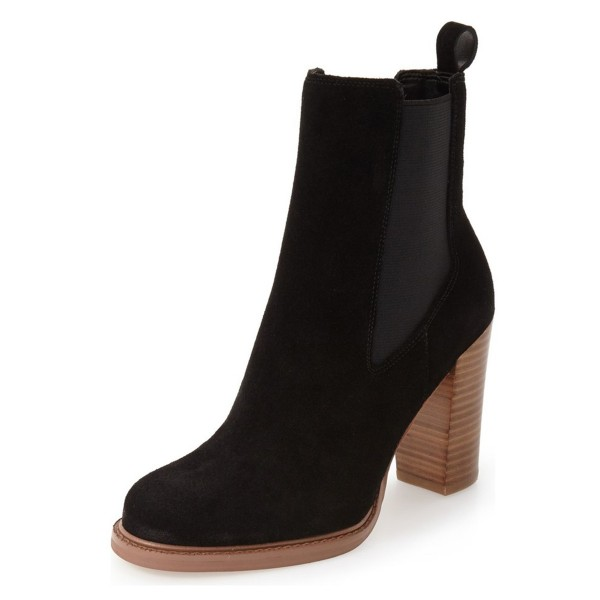 Black Chelsea Boots Wooden Chunky Heel Suede Ankle Boots for Work image 1