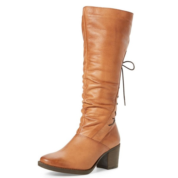 Tan Vintage Boots Chunky Heel Round Toe Back Lace-up Boots image 1