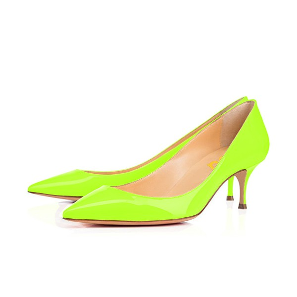 Neon Kitten Heels Patent Leather Pointy Toe Pumps image 1
