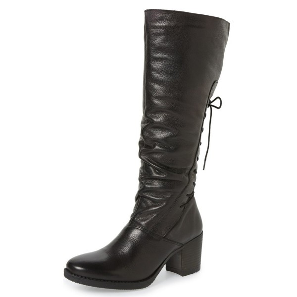 Black Tall Boots Round Toe Back Lace up Block Heel Vintage Boots image 1