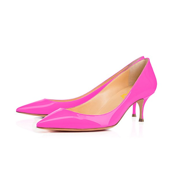 Hot Pink Kitten Heels Dress Shoes Pointy Toe Patent Leather Pumps image 1