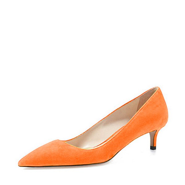 On Sale Orange Kitten Heels Pointy Toe Suede Pumps for Women image 1