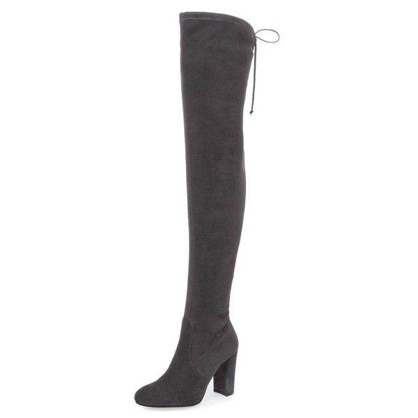 Dark Grey Suede Long Boots Chunky Heel Thigh-high Boots for Women image 1
