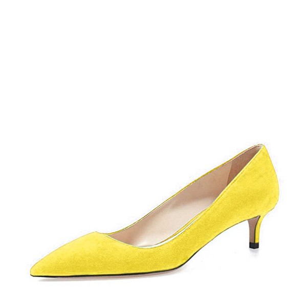 Yellow Kitten Heels Pointy Toe Suede Pumps Office Shoes image 1