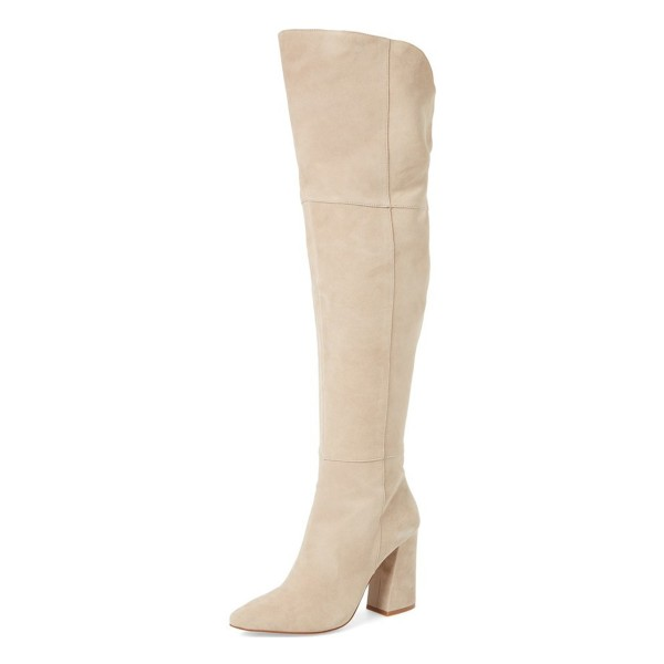 Beige Chunky Heel Suede Wide Calf Boots Pointy Toe Over-the-Knee Boots image 1